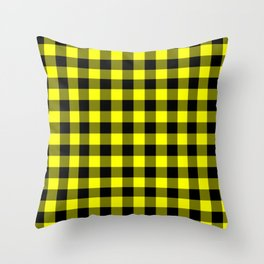 Bright Yellow and Black Lumberjack Buffalo Plaid Fabric Throw Pillow