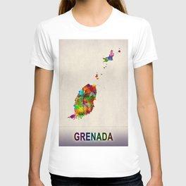Grenada Map in Watercolor T-shirt