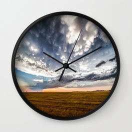 After the Storm - Spacious Sky Over Field in West Texas Wall Clock