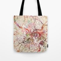 pittsburgh Tote Bags featuring Pittsburgh by MapMapMaps.Watercolors