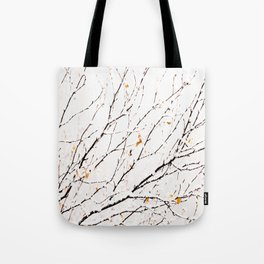 Snowy birch twigs and leaves #society6 #decor #buyart Tote Bag
