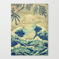 asian Canvas Prints featuring The Great Blue Embrace at Yama by Kijiermono