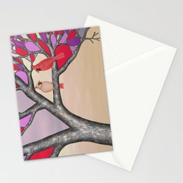 northern cardinals in the stained glass tree Stationery Cards
