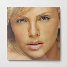 Charlize Theron - Celebrity (Oil Paint Art) Metal Print
