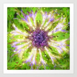 Purple Green Abstract Flower Art Print