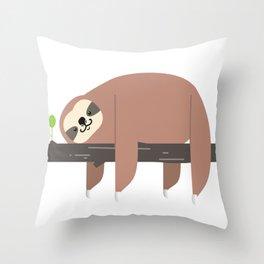 Lazy Sloth Throw Pillow