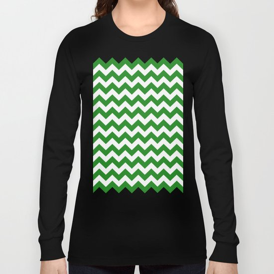 Chevron (Forest Green/White) Long Sleeve T-shirt