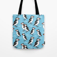 Gathering of Puffins Tote Bag