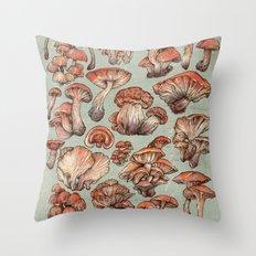 A Series of Mushrooms Throw Pillow