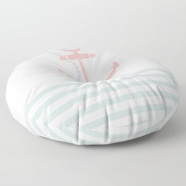 AFE Blush Red and Green Nautical Anchor Floor Pillow