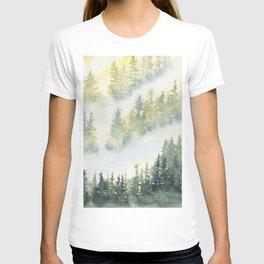 Misty Fog in Pine Forest T-shirt