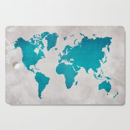 Map of the World - Blue Steel Cutting Board