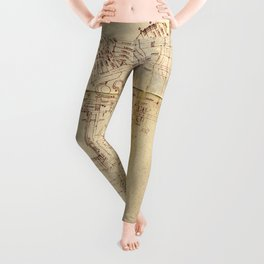 Vintage Drawing Texture Leggings