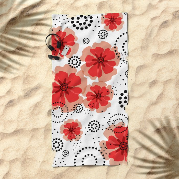 PEPPER POPPIES | red Beach Towel