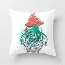 The squid pirate Throw Pillow