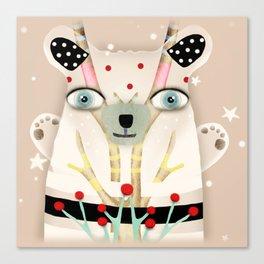 Bear 2018 polka Dots North Pole Snowing Stars Beige Cream Canvas Print