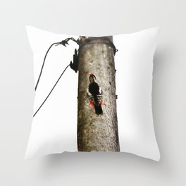 Woodpecker on gray pole Throw Pillow