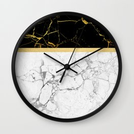 Gold and Marble Stripes Wall Clock