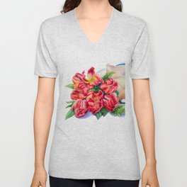Watercolor Red Tulip Wrap Unisex V-Neck