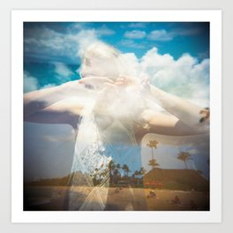 Hiding in the Hawaiian Sky - Holga Double Exposure Art Print
