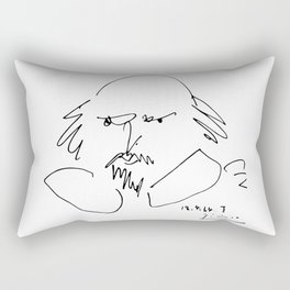 Pablo Picasso William Shakespeare 1946 Portrait, Line Drawing Artwork Reproduction For TShirt, Frame Rectangular Pillow