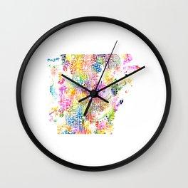 Typographic Arkansas - Multi Watercolor rainbow map Wall Clock