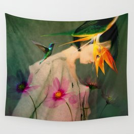 Woman between flowers / La mujer entre las flores Wall Tapestry