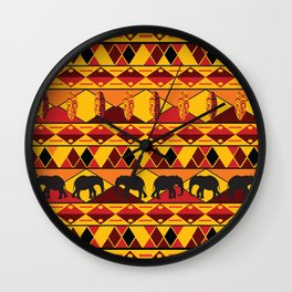 African Tribal Pattern No. 34 Wall Clock