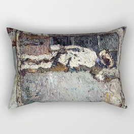 Adolphe Monticelli - A Painter at Work on a House  Wall Rectangular Pillow