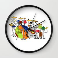 drums Wall Clocks featuring EPIC DRUMS by OUTSIDE VOICE