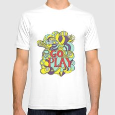 Go play White SMALL Mens Fitted Tee