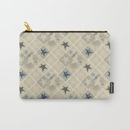 Gray beige patchwork Carry-All Pouch
