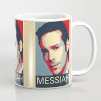 battlestar galactica Mugs featuring Baltar 'Messiah' design. Inspired by Battlestar Galactica. by hypergeek