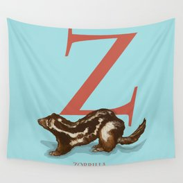 Z is for Zorrilla: Under Appreciated Animals™ ABC nursery decor bright blue unusual animals Wall Tapestry