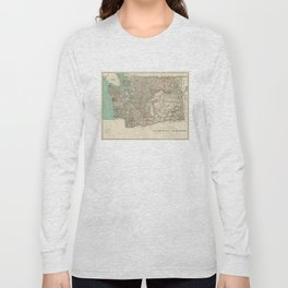 Vintage Map of Washington State (1887) Long Sleeve T-shirt