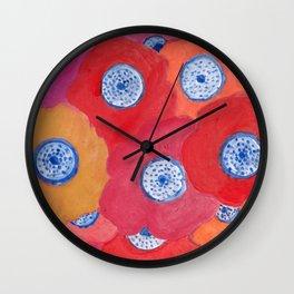 Hippy flowers watercolor Wall Clock
