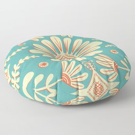 Boho Florals Cream Turquoise Floor Pillow