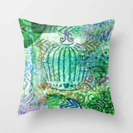 Caged Greens Throw Pillow