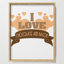 """Best combination ever in one tee! Grab this fabulous """"Chocolate and Bacon Lover"""" tee now!  Serving Tray"""