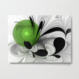 Abstract Black and White with Green Metal Print