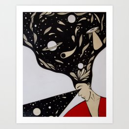 Space lady In Red Art Print