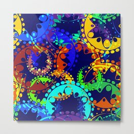 Texture of bright colorful gears and laurel wreaths in kaleidoscope style on a sea background. Metal Print