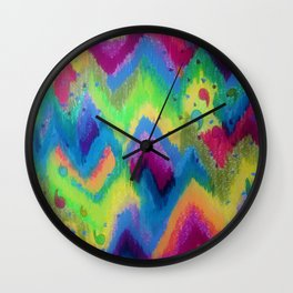 BOLD QUOTATION 2 - Colorful Bright Cheerful Fine Art Chevron Pattern Ikat Quote Modern Painting Wall Clock