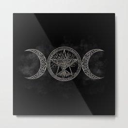 Triple Moon with pentagram and tree of life Metal Print