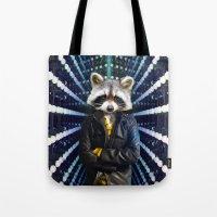 rocket raccoon Tote Bags featuring ROCKET RACCOON by Walko