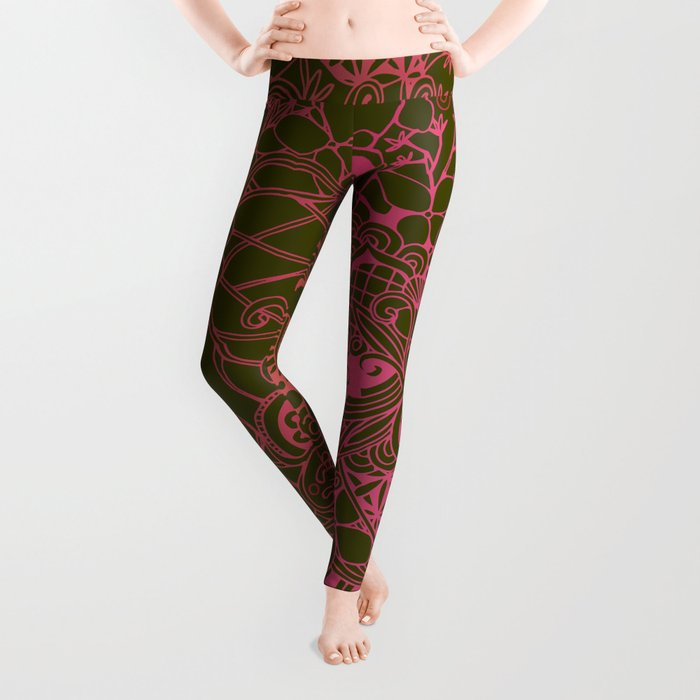 Olive square, pink floral doodle, zentangle inspired art Leggings