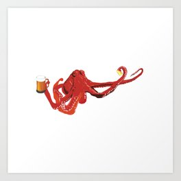 Red octopus beer lover Art Print