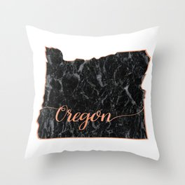 Oregon Rosegold Marble Map Outline Throw Pillow