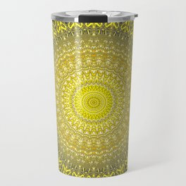 Bright Gold Navy Bohemian Mandala Travel Mug
