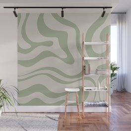 Liquid Swirl Abstract Pattern in Almond and Sage Green Wall Mural